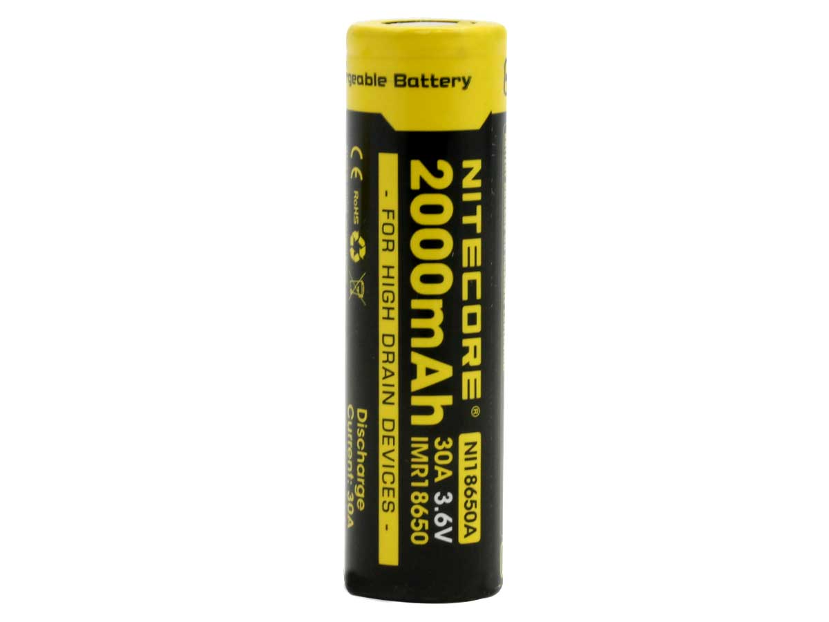 Nitecore NL18650A IMR 18650 2000mAh 3.6V Protected High-Drain 30A Lithium Manganese (LiMn2O4) Flat Top Battery - Boxed