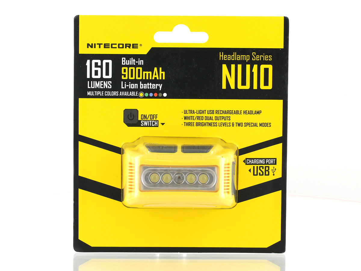 Nitecore NU10 USB Rechargeable LED Headlamp - 160 Lumens - Includes Li-ion Battery Pack - Many Colors Available