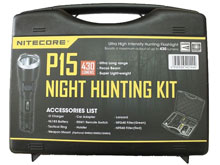 Nitecore P15 430 Lumen LED Flashlight Night Hunting Kit with GM02 Weapon Mount, RSW1 Pressure Switch, NFR60 Red Filter, NFG60 Green Filter - Fits Picatinny Railed Guns