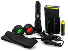 Nitecore P16-TAC Tactical LED Flashlight Hunting Kit with Choice of Gunmount, RSW1 Pressure Switch, Filters and I2 Charger - CREE XM-L2 U3 - 1000 Lumens - Uses 1 x 18650 (included) or 2 x CR123A