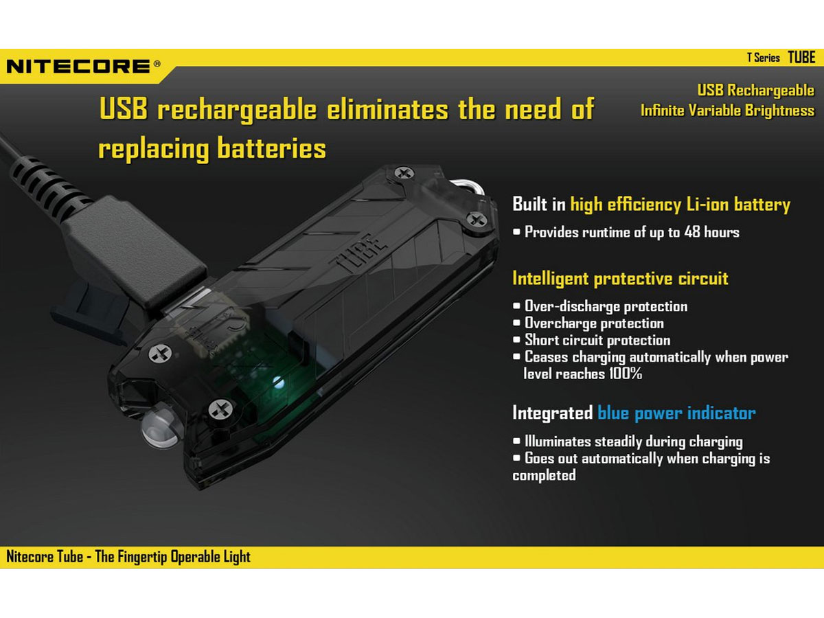 Nitecore Tube USB Rechargeable LED Keylight - 45 Lumens - Built-in Battery Pack - Black, Blue, Clear, Green or Pink