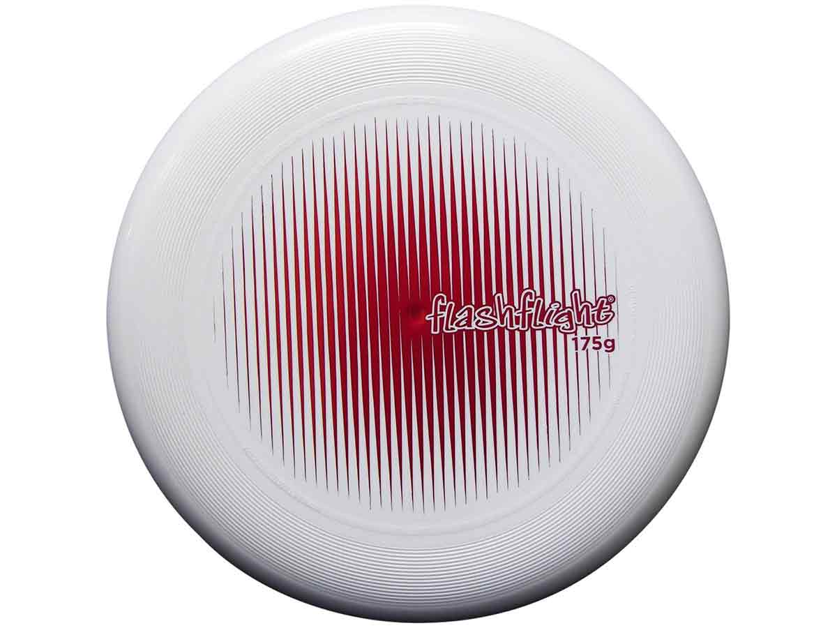 Nite Ize Flashflight Ultimate Flying Disc - 10-inch Regulation Size (175g) - White with Red Foil Stamp (FUD02-08-10G1)