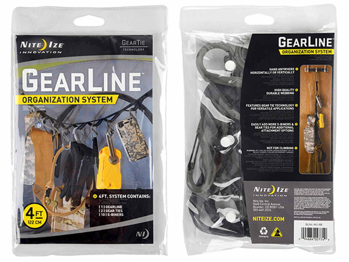 Nite Ize Gear Line Organization System - 4-Foot with 5 x #2 and 5 x #4 Plastic S-Biner Clips - Colorful (GLN4-M1-R8) or Tactical (GLN4-M2-R8)