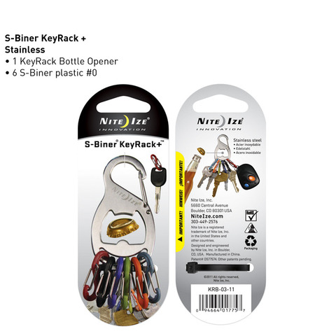 Nite Ize KeyRack+ Bottle Opener - Stainless Steel Carabiner with 6 x Plastic #0 S-Biner Carabiner Clips - Black or Silver with Colorful Clips