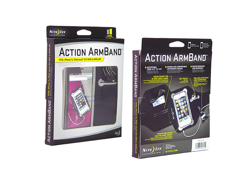 Nite Ize Action Armband for Smartphones - Includes S-Biner and Curvyman Cord Supervisor - Fits iPhone 6S and Samsung Galaxy S7 - Black (NIPB2-01-R8)