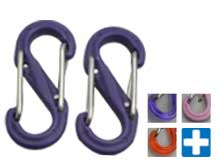 Nite Ize S-Biner - Plastic Double-Gated Carabiner Clip - #0 - 2 Pack - Purple, Pink, Translucent Orange, Translucent Purple