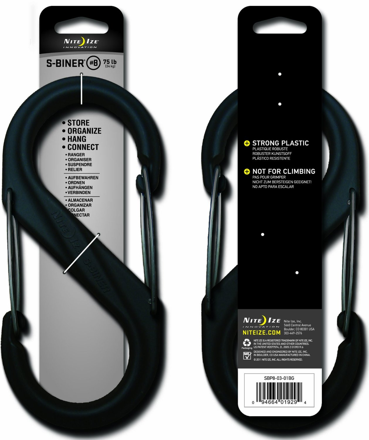 Nite Ize S-Biner - Plastic Double-Gated Carabiner Clip - #8 - Black with Black Gates (SBP8-03-01BG)