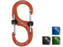 Orange SlideLock Biner with locking graphic
