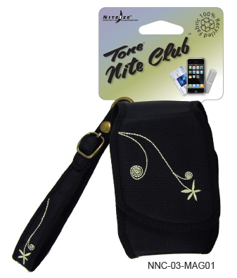 Nite Ize Tone Nite Club Cell Phone Holster with Magnetic Closure - Embroidered Black (NNC-03-MAG01)