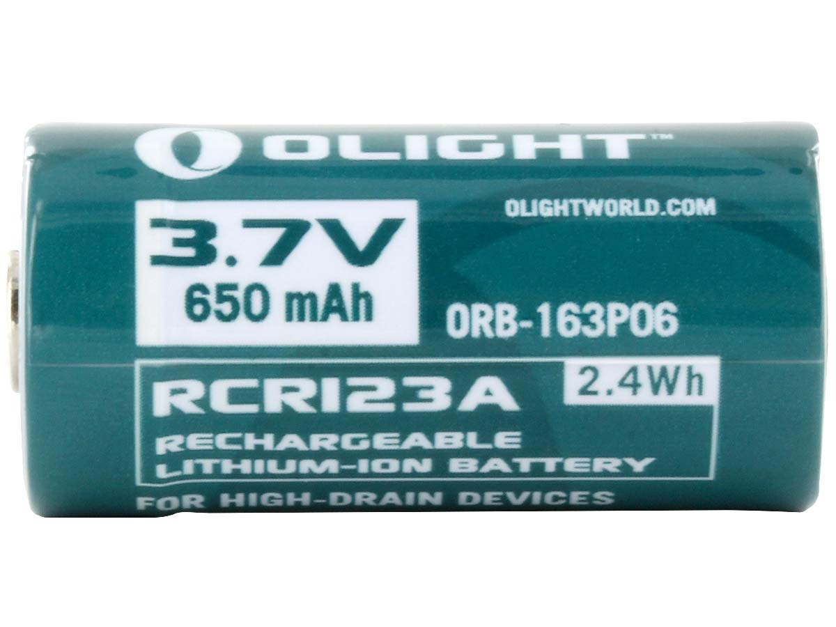 Olight ORB2-163P06 RCR123A / 16340 650mAh 3.7V Protected Lithium Ion (Li-ion) Button Top Battery - Retail Card