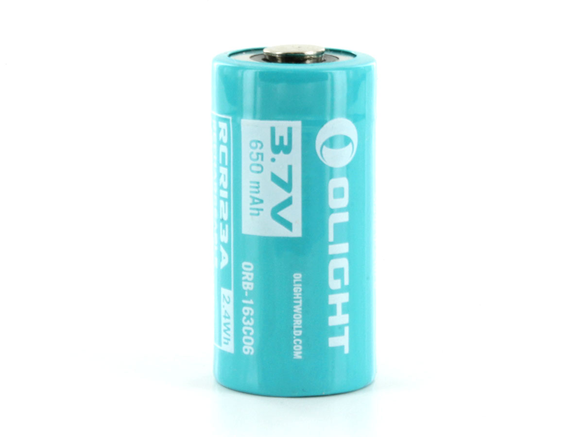 Olight ORB-163C06 RCR123A / 16340 650mAh 3.7V Protected Lithium Ion (Li-ion) Button Top Battery for S10R III and H1R