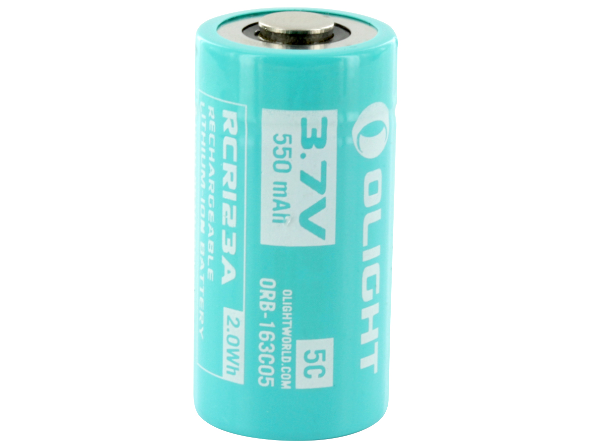 Olight ORB-163C05 IMR RCR123A / 16340 550mAh 3.7V Protected High-Drain 2.75A Lithium Ion (Li-ion) Button Top Battery - Retail Card