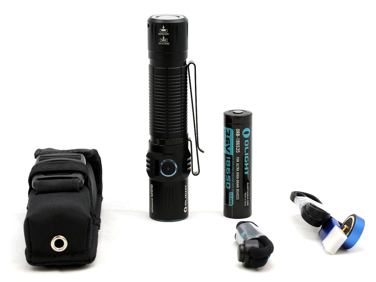 Accessories Shot of the Olight M2R Warrior Rechargeable Tactical Flashlight