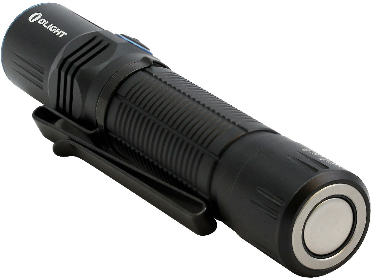 Tailcap Shot of the Olight M2R Warrior Rechargeable Tactical Flashlight