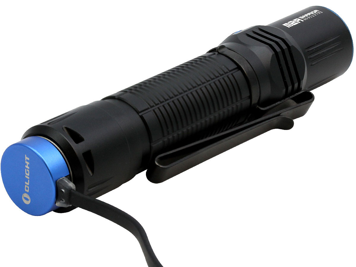 Charging Shot of the Olight M2R Warrior Rechargeable Tactical Flashlight