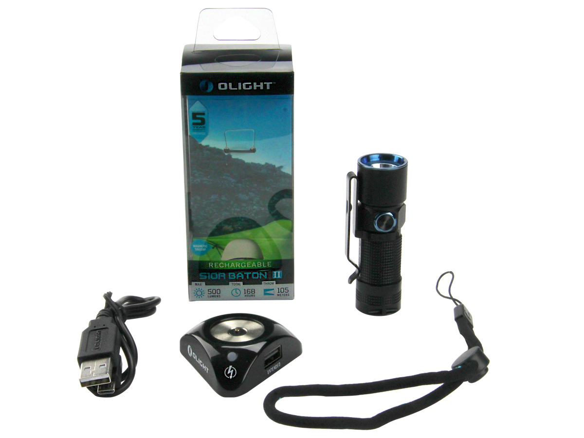 Olight S10R II Baton Rechargeable Flashlight with Magnetic Tailcap and Charging Dock - CREE-XP-L LED - 500 Lumens - Includes 1 x RCR123A