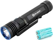 BUNDLE: Olight S30R Baton III Rechargeable Flashlight Kit - CREE XM-L2 LED - 1050 Lumens - Uses 1 x 18650 (2x Included)