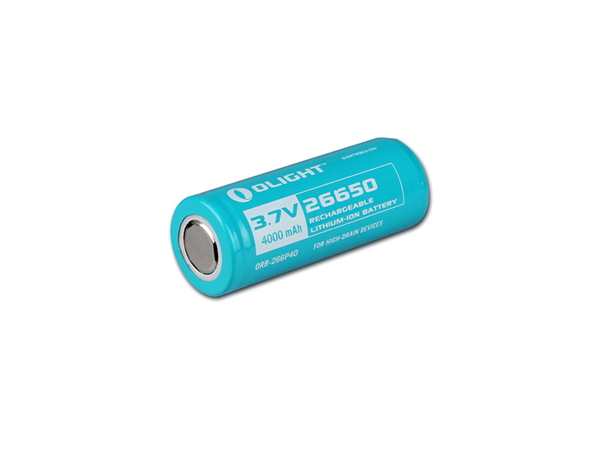 Olight 26650 4000mAh 3.7V Protected Lithium Ion (Li-ion) Button Top Battery - Bulk (26650-BATTERY-4000MAH)
