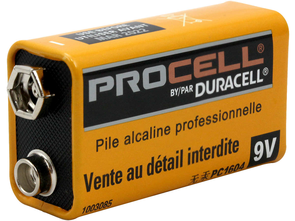 Duracell Procell PC1604 (72PK) 9V Alkaline Batteries with Snap Connectors - Case of 72