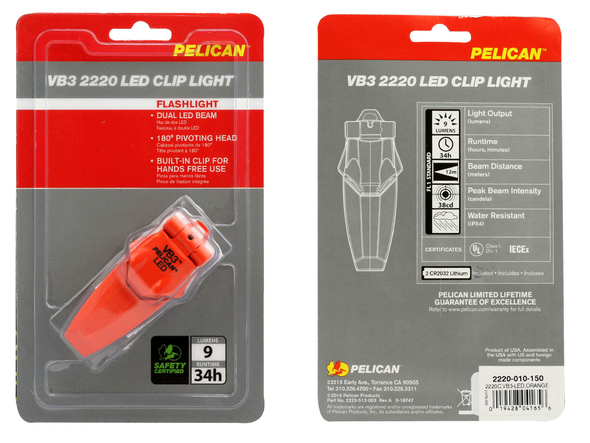 Pelican VB3 2220 Clip-on LED Flashlight - 9 Lumens - Class I Div 1 - Includes 2 x CR2032s - Black, Orange, Yellow