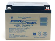 Power-Sonic AGM General Purpose PS-12260 26Ah 12V Rechargeable Sealed Lead Acid (SLA) Battery - F2 Terminal