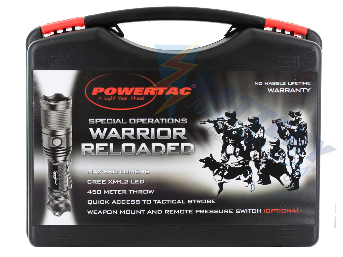PowerTac Warrior Gen II Reloaded Flashlight - CREE XM-L2 LED - 850 Lumens - Uses 2 x CR123A or 1 x 18650  (Included)