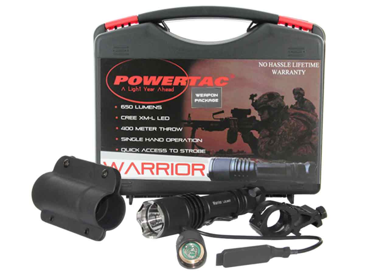 PowerTac Warrior Weapon Package LED Flashlight 650 Lumens CREE XM-L - Uses 2 x CR123A or 1 x 18650