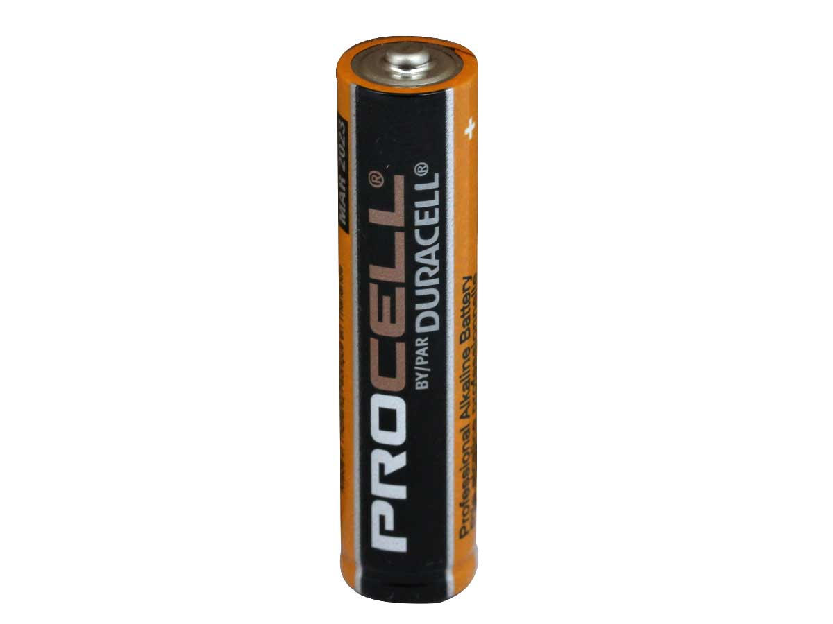 Standing Shot of the Duracell Procell AAA 1.5V Alkaline Button Top Battery