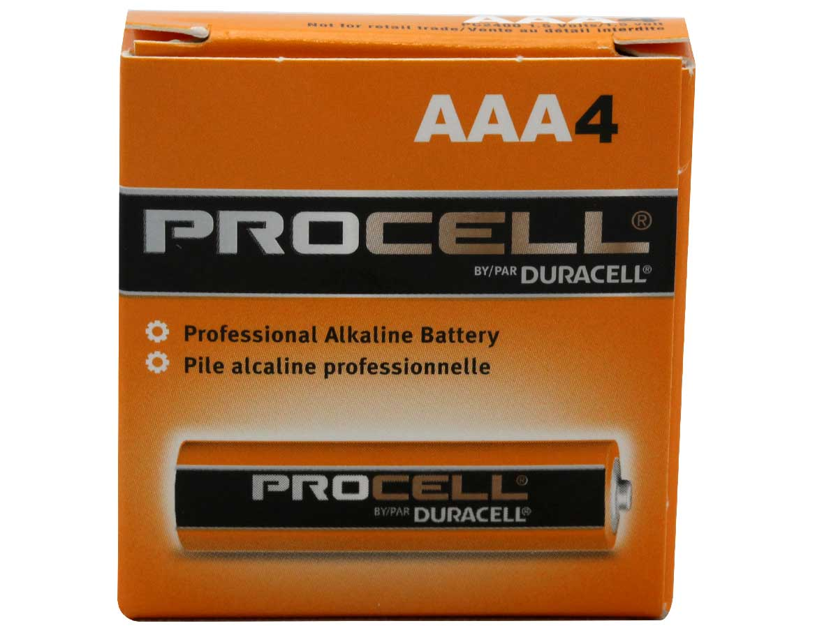 4-Pack Box of Duracell Procell AAA 1.5V Alkaline Button Top Batteries