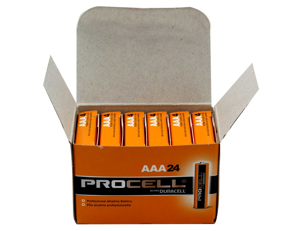 24-Pack Box of Duracell Procell AAA 1.5V Alkaline Button Top Batteries