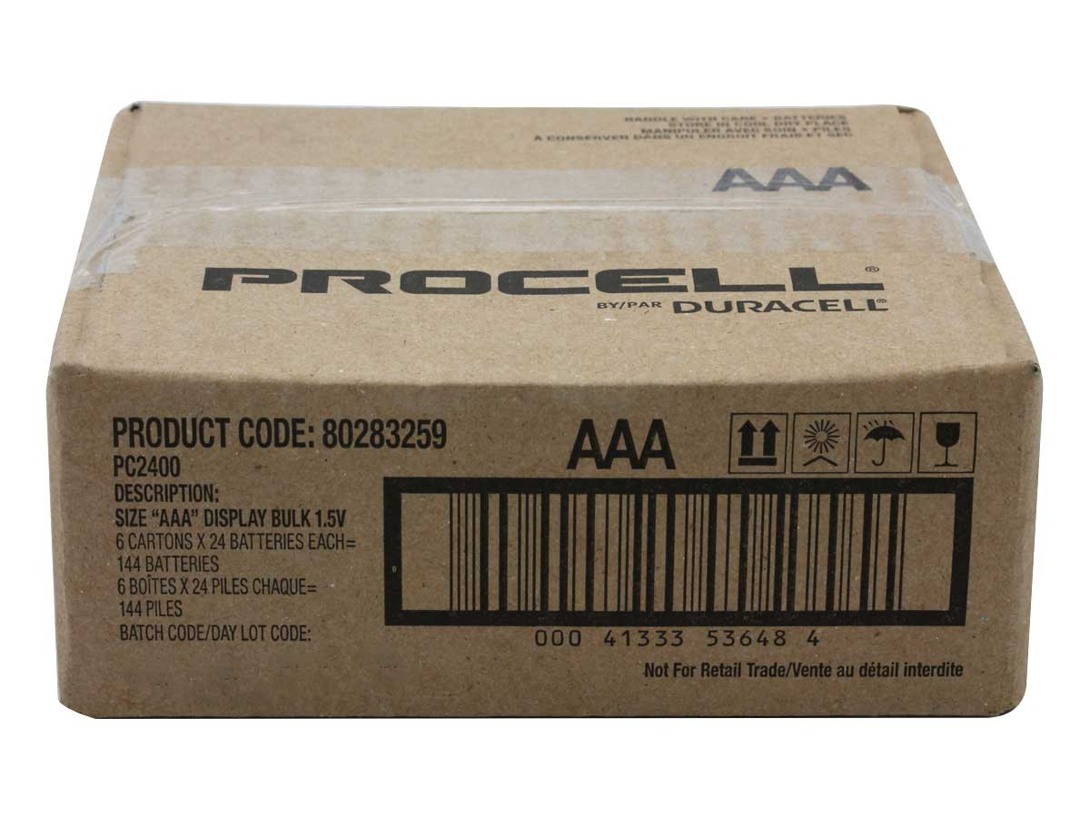 Case of 144 Duracell Procell AAA 1.5V Alkaline Button Top Batteries