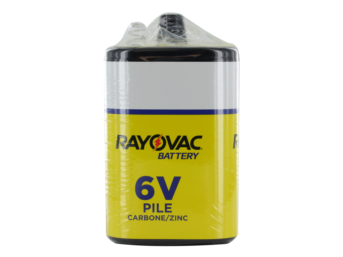 Rayovac 944A 5660mAh 6V Zinc Chloride (ZnCl) Heavy-Duty Lantern Battery with Spring Terminals - Shrink Pack