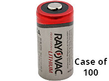 Open Case of 100 Rayovac CR123A Lithium Photo Batteries