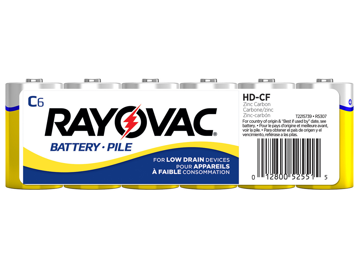 Rayovac Heavy Duty HD-CD C-cell 2780mAh 1.5V Zinc Chloride Button Top Batteries - 6 Pack Shrink Wrap