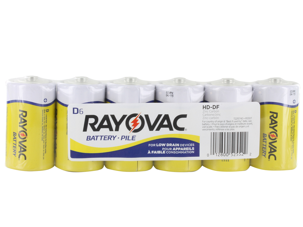 Rayovac Heavy Duty HD-DD D-cell 1.5V Zinc Chloride Button Top Batteries - 6 Pack Shrink Wrap