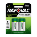 Rayovac Rechargeable Plus PL714-2 C-cell 3000mAh 1.2V Nickel Metal Hydride (NiMH) Button Top Batteries - 2 Piece Retail Card