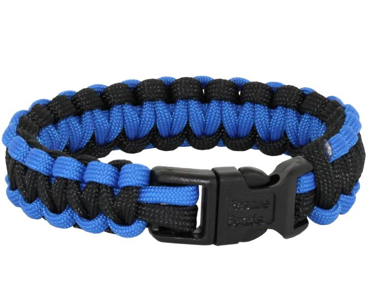 Rescueband Survival Bracelet - Holds Up To 550lbs - Royal Blue Outside with Black Inside - 9 Inch Diameter