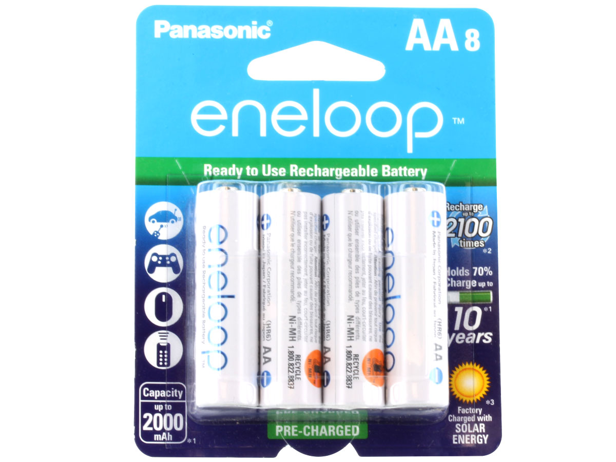 Panasonic Eneloop BK-3MCCA-8BA AA 2000mAh 1.2V Low Self Discharge Nickel Metal Hydride (NiMH) Button Top Batteries - 8 Pack Retail Card