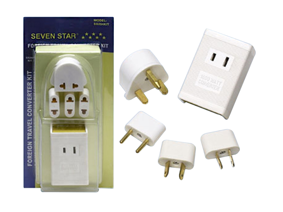 Seven Star Travel Voltage Converter  & Plug Adaptor Kit SS204 1600Watts