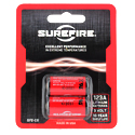 SureFire SF2-CB SF123A CR123A 1500mAh 3V Lithium Primary (LiMNO2) Button Top Batteries - 2 Pack Retail Card
