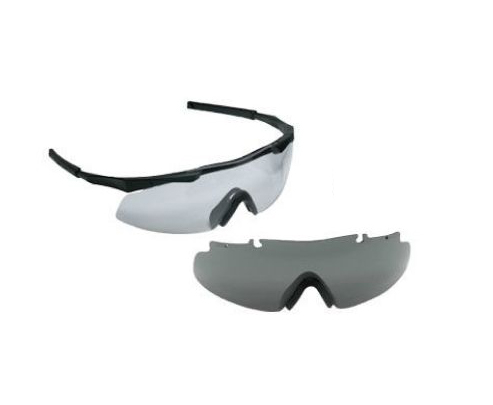 Smith Optics - Aegis Eyeshields - Black Frames with Clear Lenses Installed Gray Spare Lenses - Retail