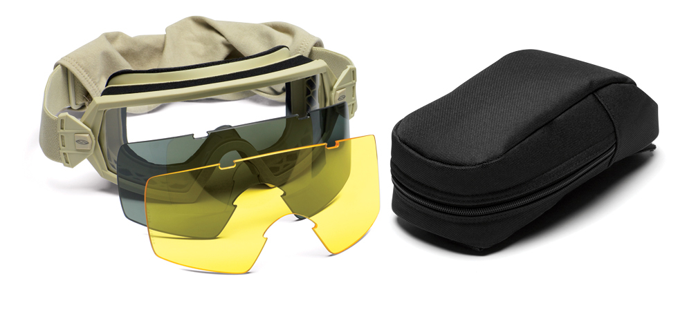 Smith Optics - Outside The Wire Goggles - Desert Tan Frames with Clear Lenses Installed - Gray and Yellow Spare Lenses - Deluxe Kit
