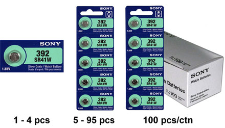 Sony SR41W 392 1.55V Silver Oxide Button Cell Battery (LR41 AG3. SR41, SR736, SB-B1, V36A) - 1 Piece Tear Strip, Sold Individually