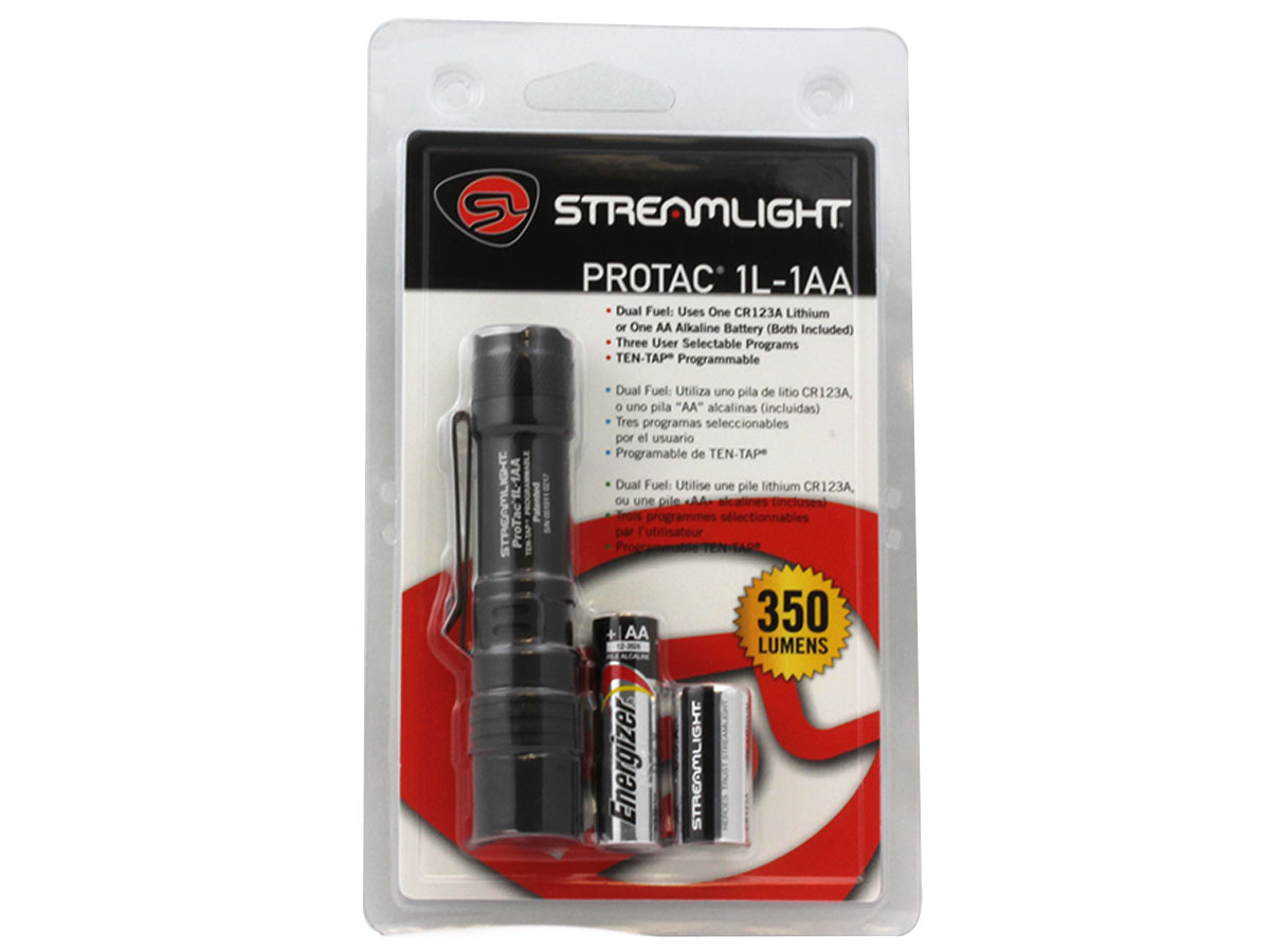 Streamlight ProTac 1L-1AA Dual Fuel LED Flashlight - C4 LED - 350 Lumens - Includes 1x CR123A and 1x AA (88061)