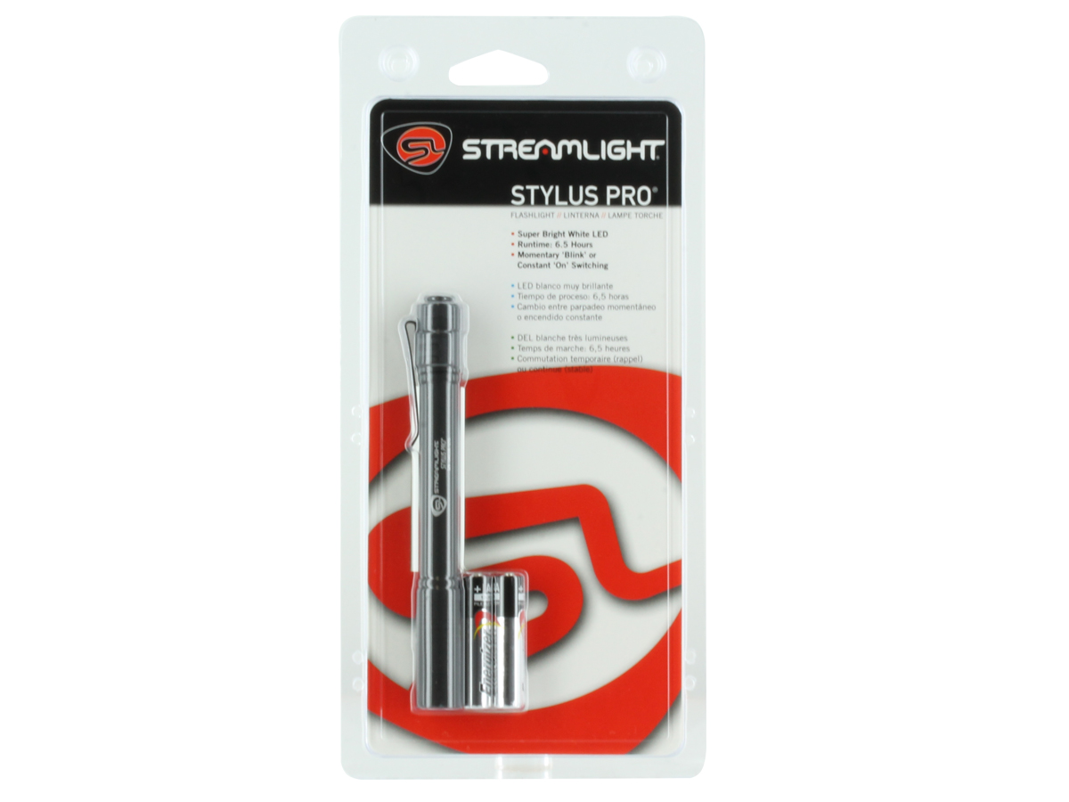 Streamlight Stylus Pro Penlight - White C4 LED - 90 Lumens - Includes 2 x AAAs - Black, Red, Blue or Silver