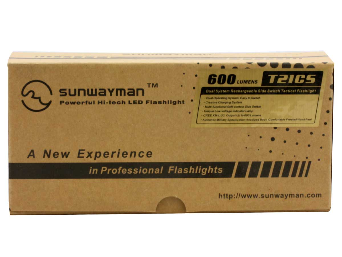 Sunwayman T21CS Rechargeable Tactical Flashlight with Side Switch - CREE XM-L U3 LED - 600 Lumens - Uses 2 x CR123As/RCR123As or 1 x 18650