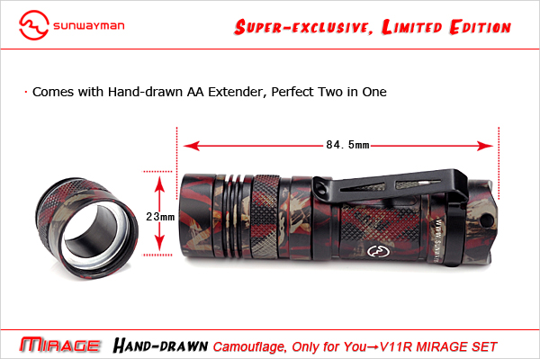 Sunwayman Limited Edition V11R Mirage LED Flashlight with CREE XM-L U3 LED - Up to 500 Lumens - Camouflage Finish - Uses 1 x CR123A or 1 x AA