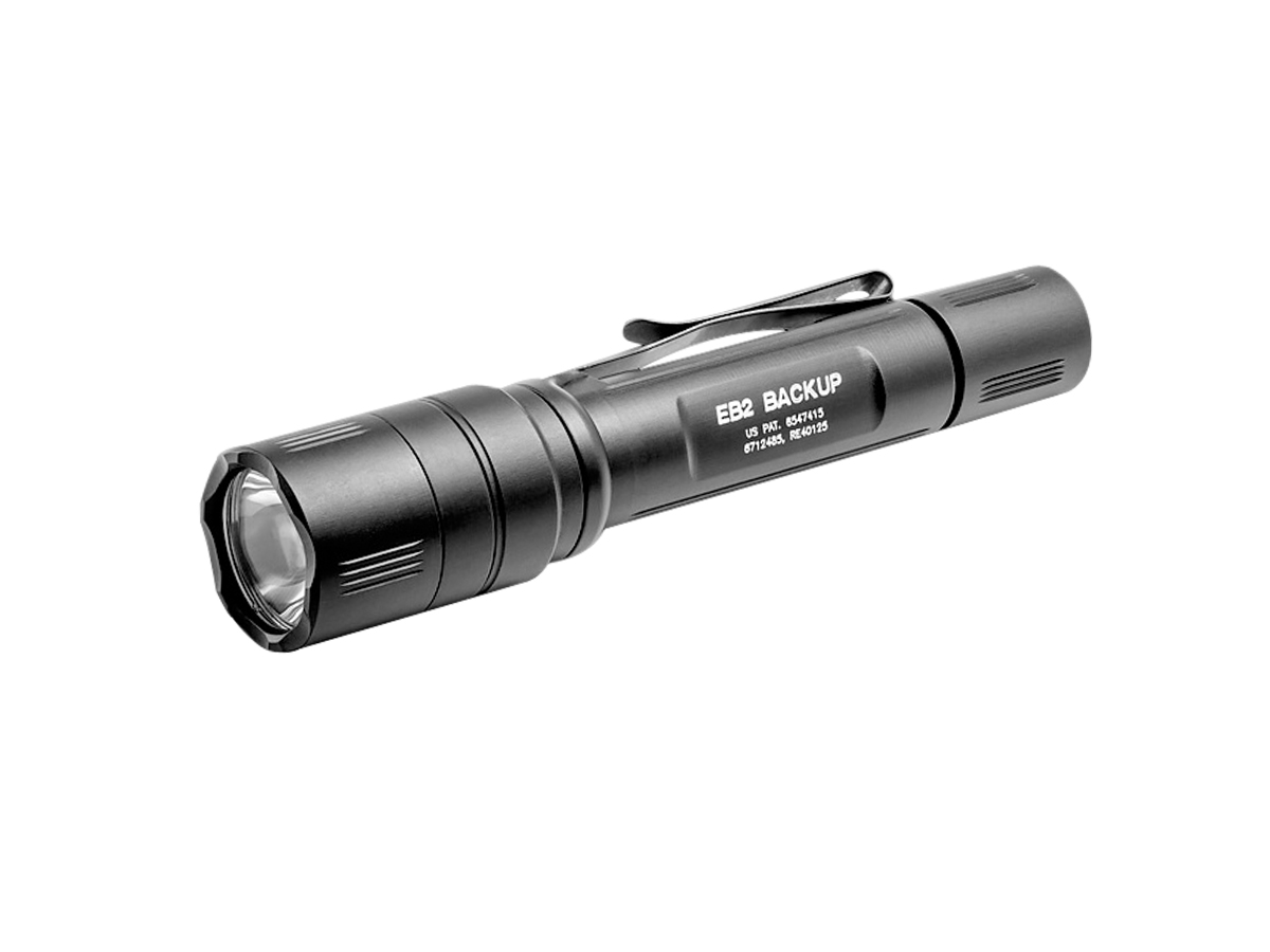 SureFire EB2 Backup LED Flashight - Click-type Tailcap Switch - 500 Lumens - Includes 2 x CR123As (EB2C-A-BK)