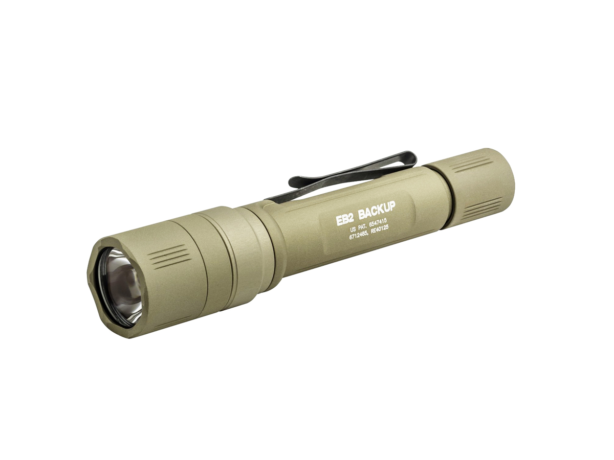 SureFire EB2 Backup LED Flashight - Click-type Tailcap Switch - 500 Lumens - Runs on 2x CR123A batteries - Tan (EB2C-A-TN)