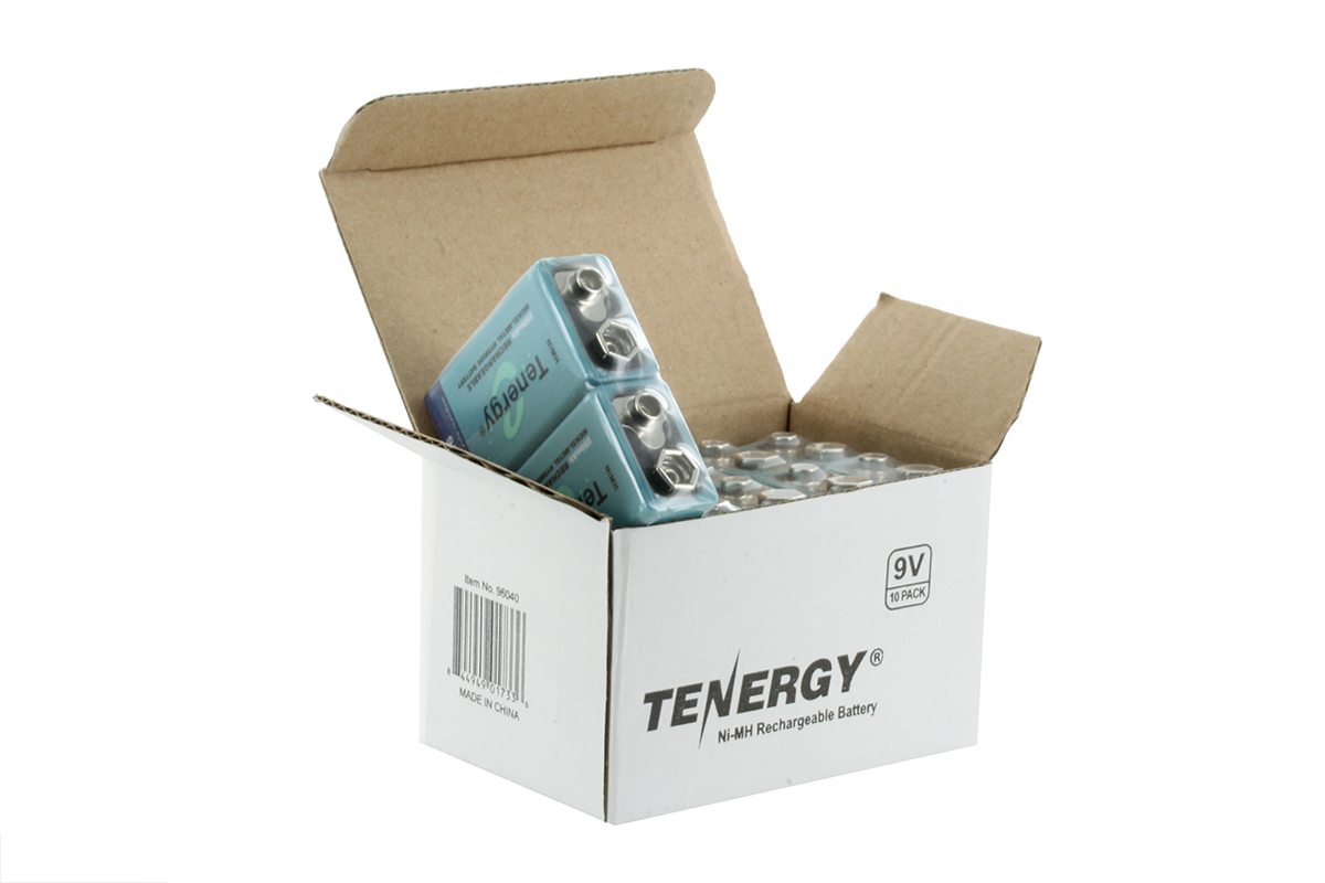 Tenergy 10001 9V 250mAh 8.4V Nickel Metal Hydride (NiMH) Battery with Snap Connector - Bulk